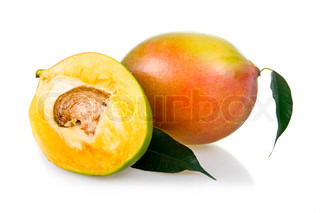Ripe mango fruits with leaves isolated on white background