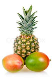 Ripe pineapple and mango fruits isolated on white background