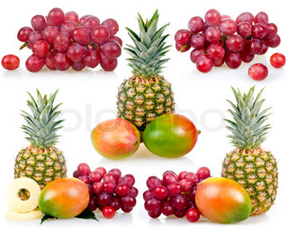 Set of Pineapple, mango and grapes isolated on white background (still life)