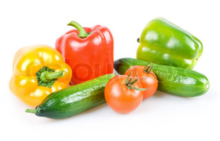 Fresh Ripe Vegetables (Tomatoes, Cucumbers ad Paprika) Isolated on White Background