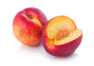 Fresh peach fruits with cut isolated on white background