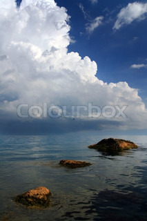Image of 'storm, waves, sailor'