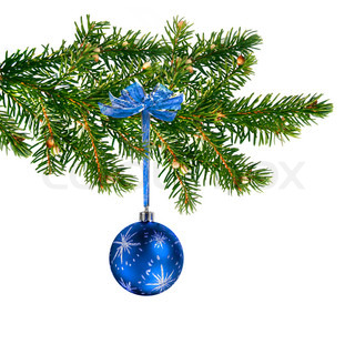 Blue glass ball hanging on green Christmas tree branch
