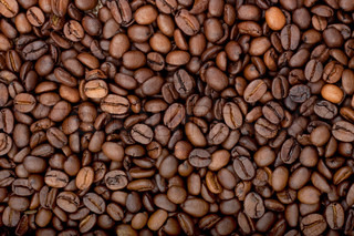 Background of aromatic roasted brown coffee bean