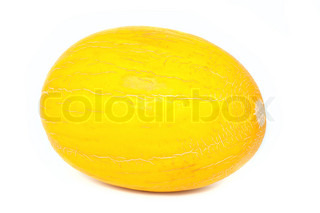 Ripe yellow melon isolated on white background