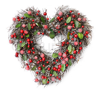 Heart shaped Christmas garland with red berries and green leaves on white background, soft shadows