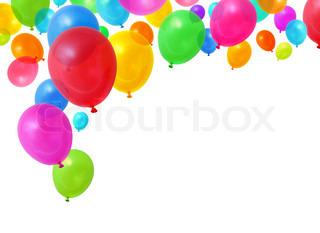 Farverige fødselsdagsfest balloner flyve på hvid baggrund