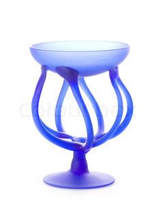 Empty blue vase (bowl) isolated on white background