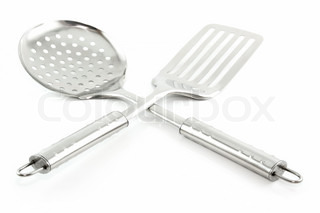 Kitchen Utensils (Colander and Spatula) Isolated on White Background