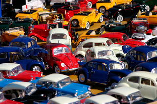Colorful traffic jam of collectible miniature car models