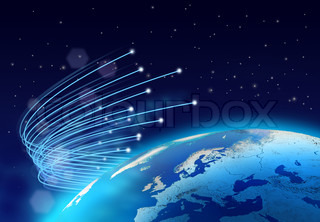Optical fibres speeding around planet Earth globe, dark space background