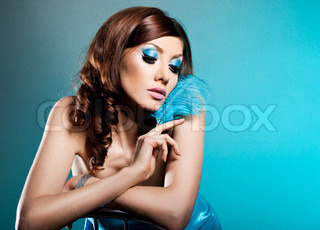 fashionable woman with art visage