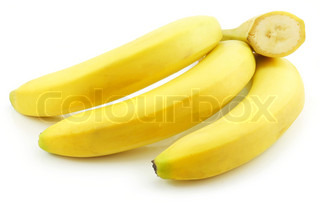 Bunch of Ripe Sliced Banana Isolated on White Background