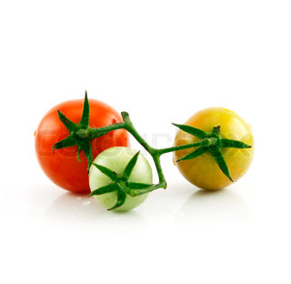 Ripe Wet Red and Green Tomatoes Isolated on White Background