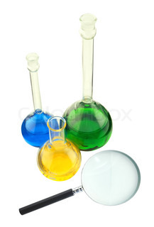 Chemical test tubes and magnifier isolated on white