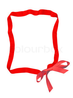 red ribbon bow frame with copy space for your text