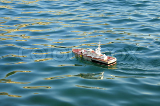 Toy ship floating on the water