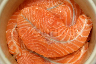 Close-up fresh slices of salmon fillet
