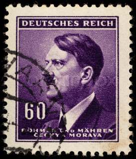GERMANY - CIRCA 1942: Used Postage Stamp showing Portrait of Adolf Hitler circa 1942.