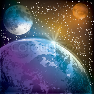 abstract background with earth moon and mars in the space