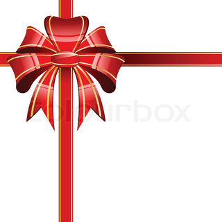 Red bow on a white background - vector illustration