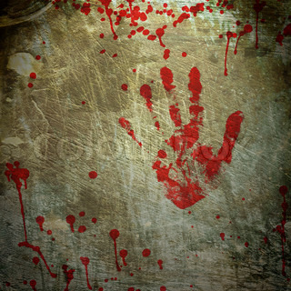 Grunge background with a print of a bloody hand