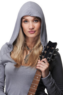 Portraite of young woman holding a guitar, isolated on white