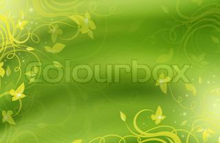 Floral grøn og gul sommer baggrund