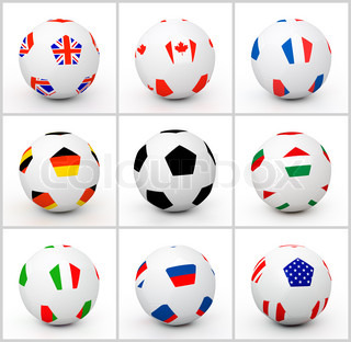 Set soccer ball with different attributes of countries flag