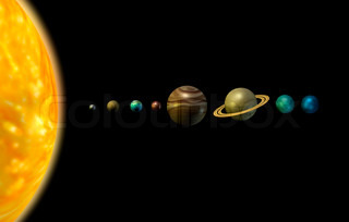 Solar system 3d illustration sun and planets on black background