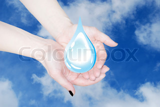 hands holding water drop, environmental protection