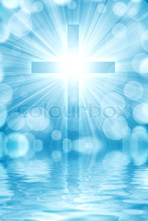 glowing cross on a light background, with radial rays of light