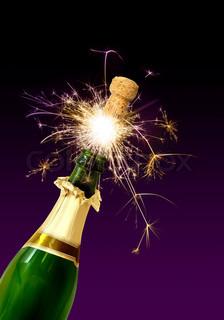 Champagne flaske kork popping med funklende fyrværkeri