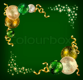 Christmas feeling background with green, silver and golden balls surrounded by golden ribbons and stars