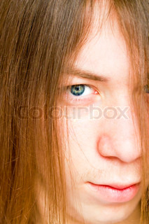 young guy with long hair are very close