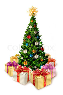 Colorful Christmas tree with present surprise boxes around, isolated on white