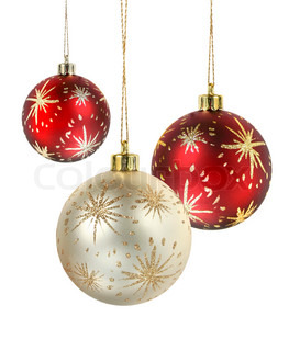 Red and gold matte christmas decoration balls hanging on white background