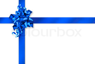 Blue gift wrap ribbons on white background