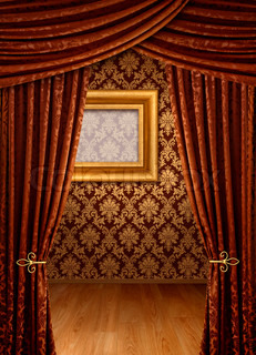 Grand opening showroom with gold damask pattern wall