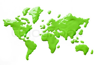 Green paint splashes forming shapes of globe continents on white background isolated