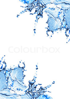 Blue water and water splash on a white background