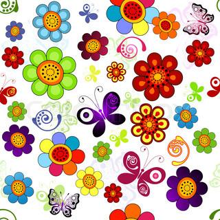 Rainbow floral nahtlose Muster mit Blumen und Schmetterlingen (Vektor)