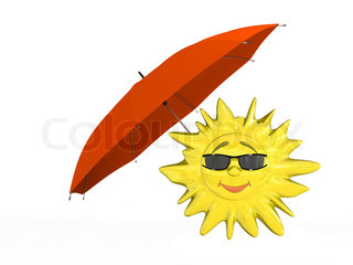 Cartoon sun in glasses with umbrella isolated on white background