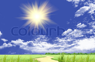 The sun in clouds in the blue sky and a green glade