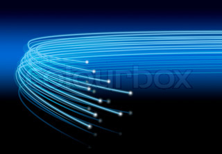 Optical fibers lights speeding on blue black background