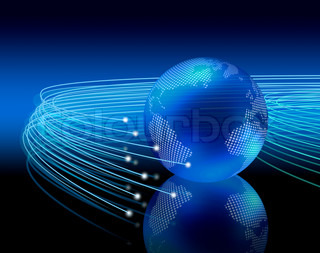 Optical fibers lights speeding on dark background around the digital earth globe