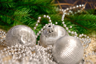 Silver Christmas balls with silver pearl decoration and green tree branches