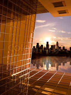 Modern building perspective structure opening window to future dawn