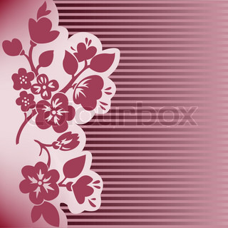 silhouette of flowering branch on dark pink striped background