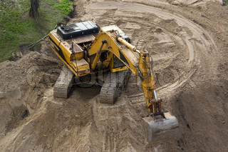 Trackhoe digging excavation stock photo colourbox for Digging ground dream meaning
